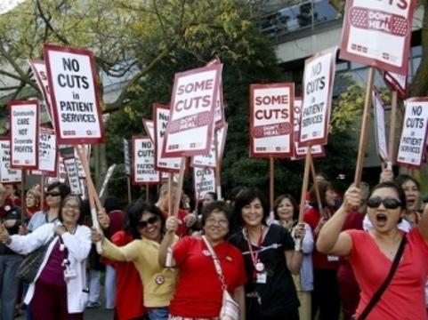 Тысячи калифорнийских медсестер [провели однодневную забастовку]